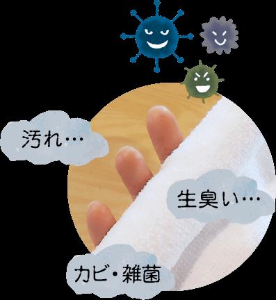 汚れ、カビ・雑菌、生臭い…
